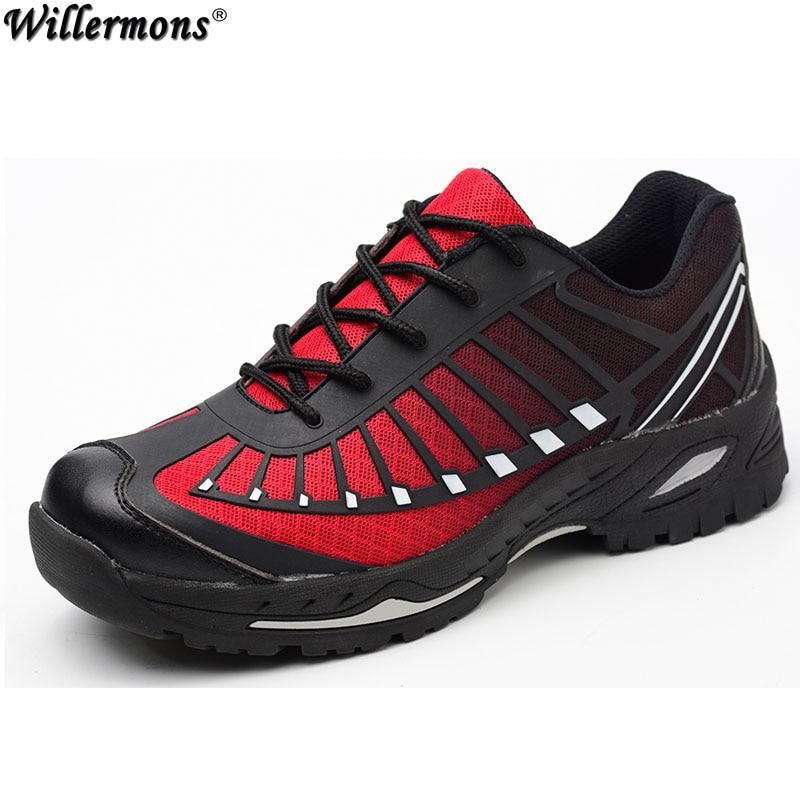 2018 Новый Для мужчин открытый Сталь носком Кепки защитные и рабочая обувь сапоги Для мужчин дышащая проколов армейские ботинки
