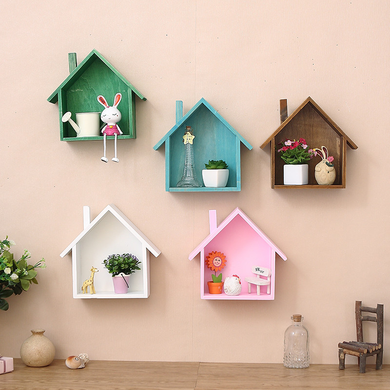 American Village Retro Colored Small House Living Room Wall Mount Shelf Walls DecorationsChina