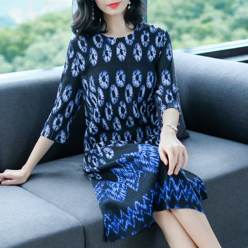 Spring Women Pleated Fashion New Tidal Loose Big Size Lady Elegant Floral Dresses