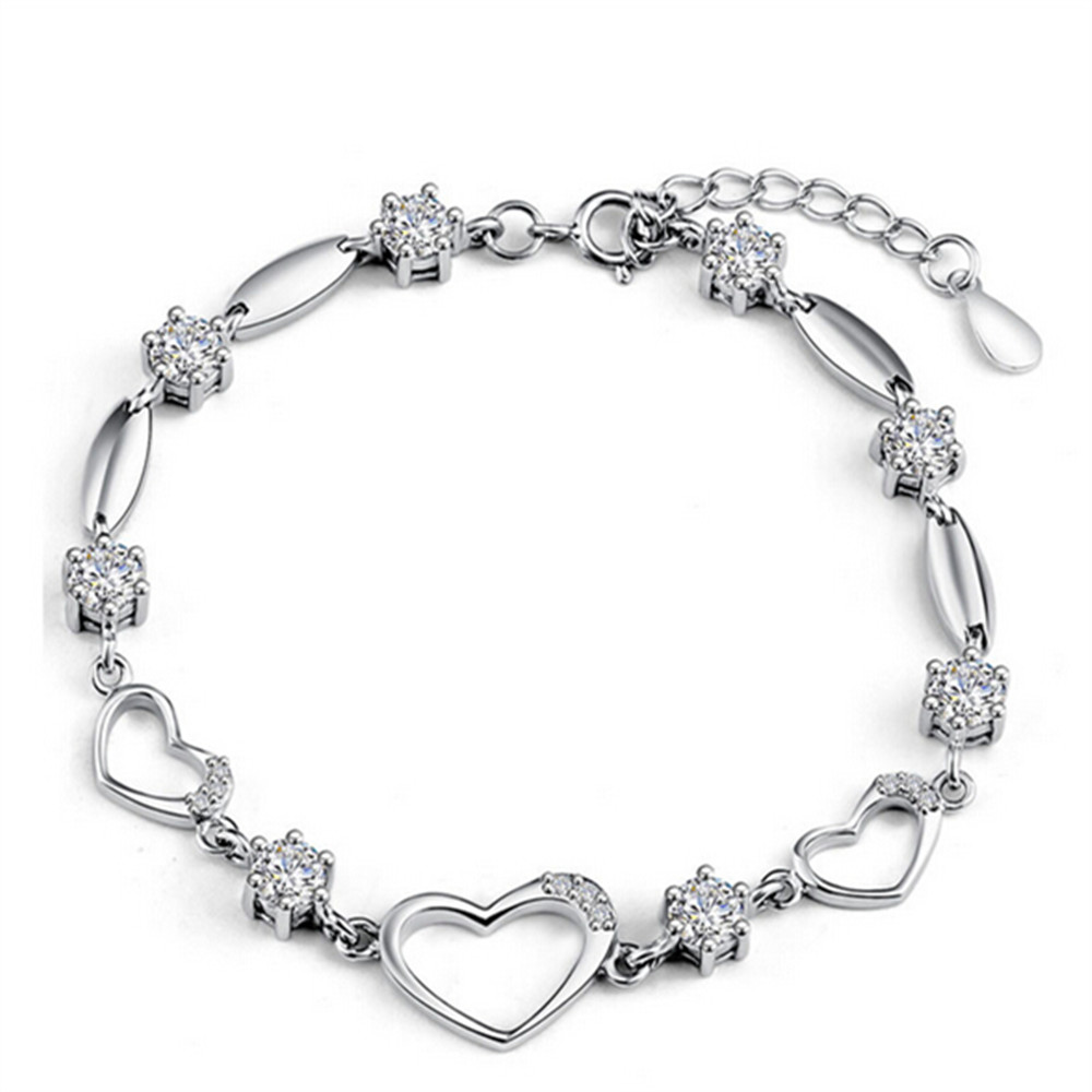 Shiny Rhinestones Two Colours Choice Bracelet 925 Sterling Silver ...