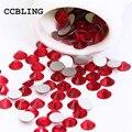 CCBLING ss3-ss30 Light Siam Posterior Plana de Cristal 3d Nail Art decoraciones de cristal) no Pegamento Caliente del Arreglo de los rhinestones para uñas de piedra