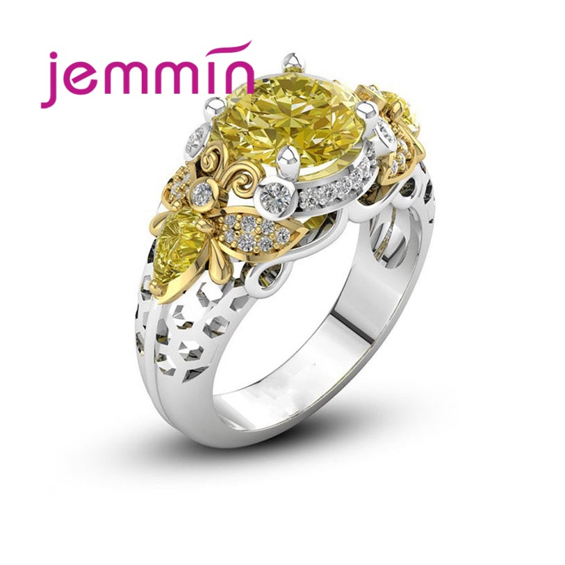 Best Selling New Trendy Accessories Wedding 925 Sterling Silver Bee Shape Jewelry Yellow CZ Fashion Crystal Ring Size 6-10