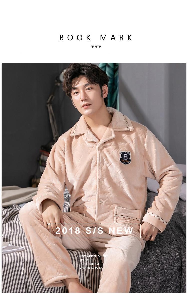 785baa1662 2019 BZEL Men S Pajamas Warm Flannel Pajama L XL XXL Men Thicken ...