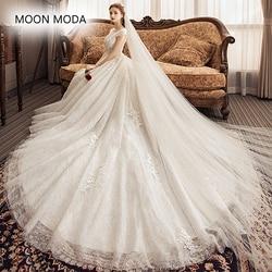 97407f003c Luxury Wedding Dresses long Tail A Line V Neck Floor Length See ...