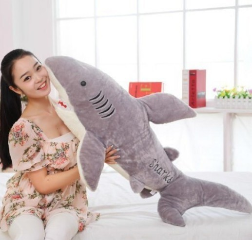 Free shipping 100cm big size shark plush toy The simulation plush toy of shark soft suffed toy factory supply Christmas gift