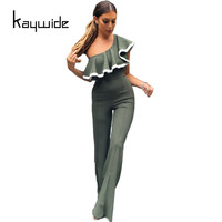 Kaywide New Fashion One Off Shoulder Ruffles Rompers Womens Jumpsuits Elegant Fitness Wide Leg Full Bodycon