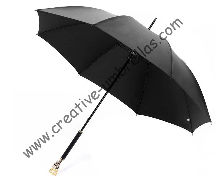 straight golf umbrellas 10mm fiberglass shaft and 4.0mm fiberglass ribs,hand open,windproof,skeleton head,skull handle