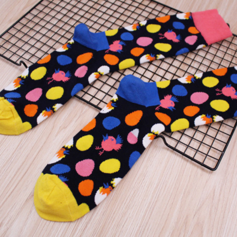 Happiness socks color bird egg cotton jacquard socks perfect quality fun novelty Harajuku costume dress Herensokken