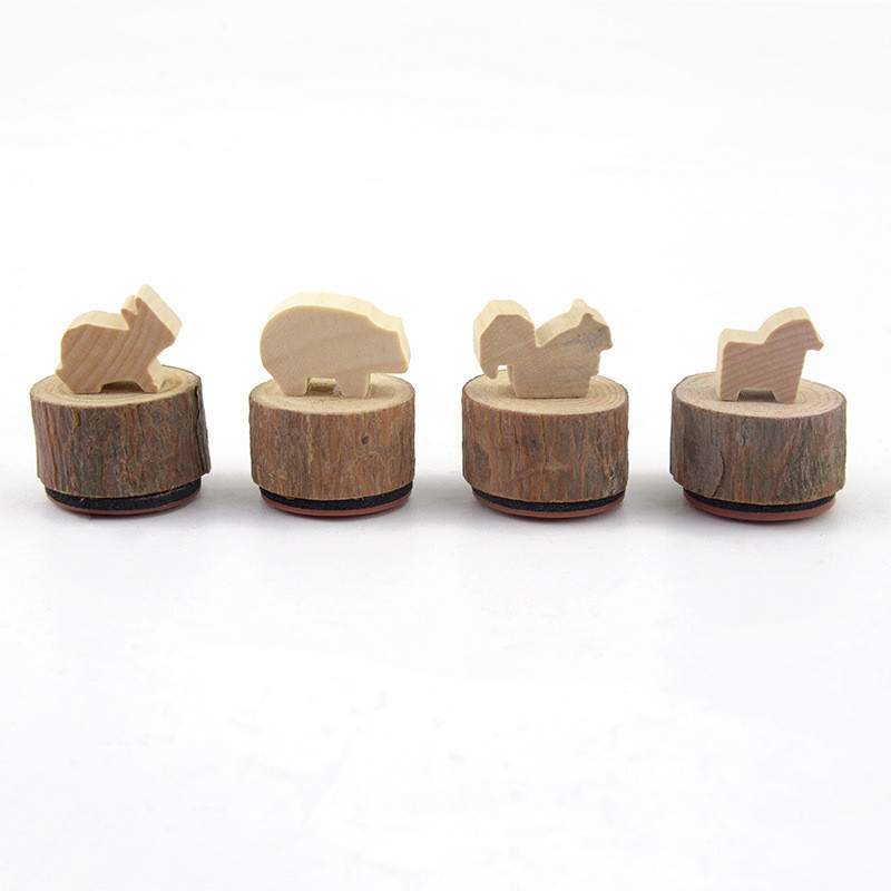 LGYS-2717 Kawaii Animals Stamp Wooden Toyes Kids DIY Decoration Stamp 4pcs/set Kids Stationery Gift Badge Holder Standard Rubber 15pcs set chinese english word wood stamps cartoon pattern teacher comments encourage rubber stamp unique gift for kids