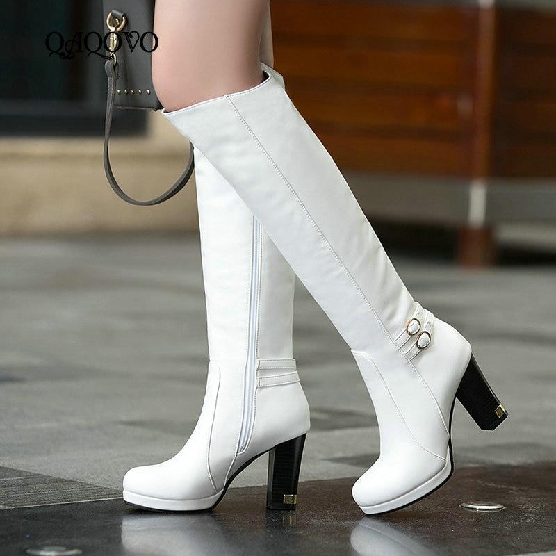 Женские зимние теплые сапоги до колена, женские зимние сапоги из искусственной кожи на платформе с высоким квадратным каблуком, модные высо...