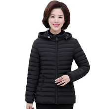 2018 women winter hooded jacket female light autumn plus size 4XL 5XL coat ladies padded slim outerwear parka jaqueta feminina