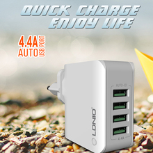 LDNIO A4403 5V 4.4A 4-Port Universal USB Wall Charger Adapter for Mobile Phone Charger for iPhone Laptop