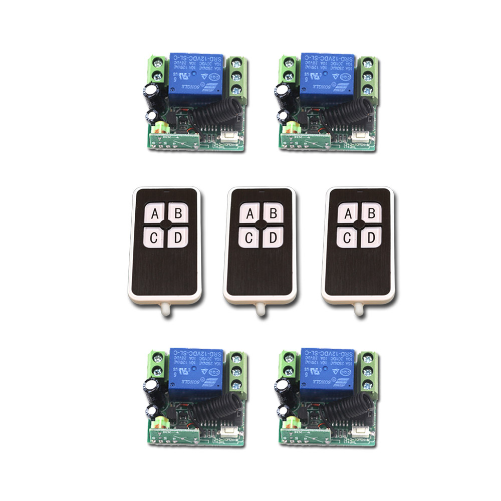 New DC12V Mini RF Wireless Remote Control Switch 4pcsTransmitter 1CH Relay Switches with 4pcs Receiver with 4Buttons Hot Sales