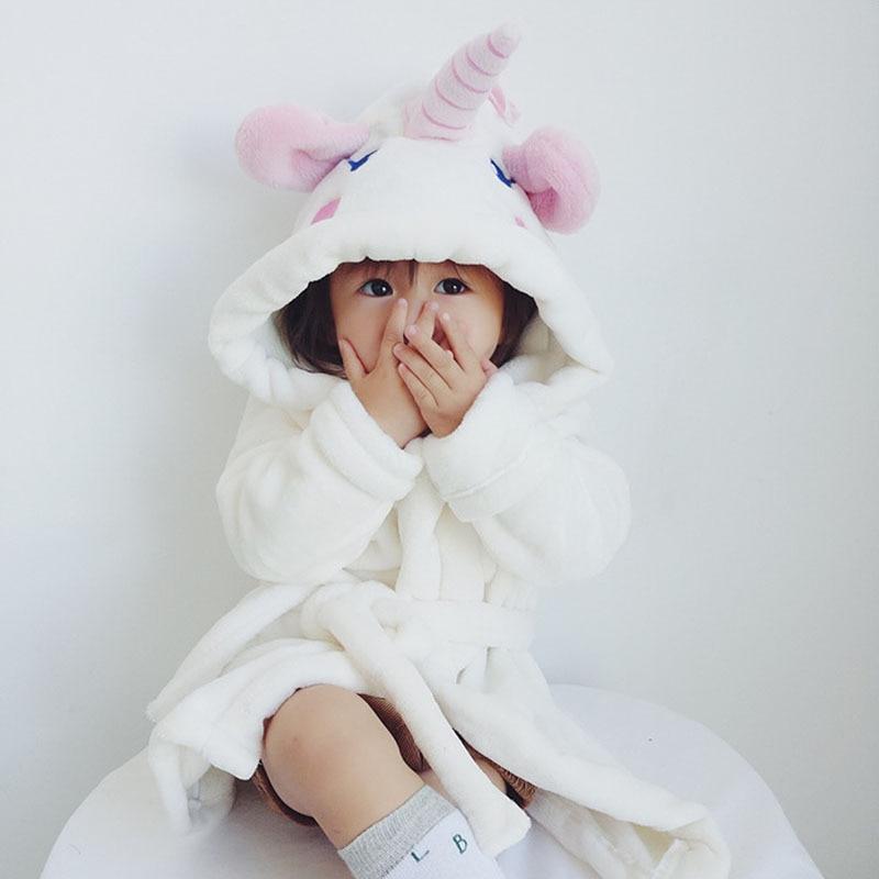 Childrens Bathrobes For Girls Unicorn Robe Hooded Sleepwear Flannel Roupao Cartoon Pajamas Retail Baby Animal Bathrobe