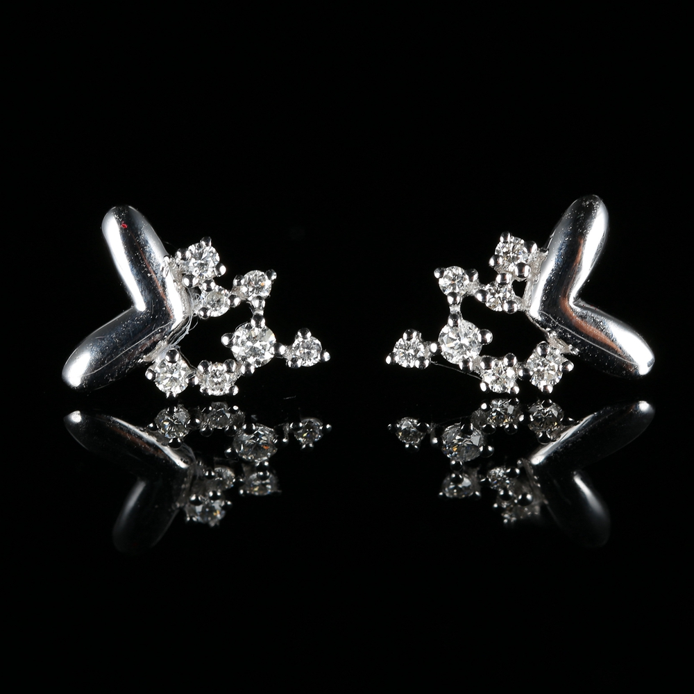0.21ct SI/H Full Cut Natural Diamonds Solid 14k White Gold Women Engagement Wedding Party Fine Earrings Stud Earrings Jewelry 0 28 ct natural diamonds earrings solid 14k white gold snow shape charm jewelry