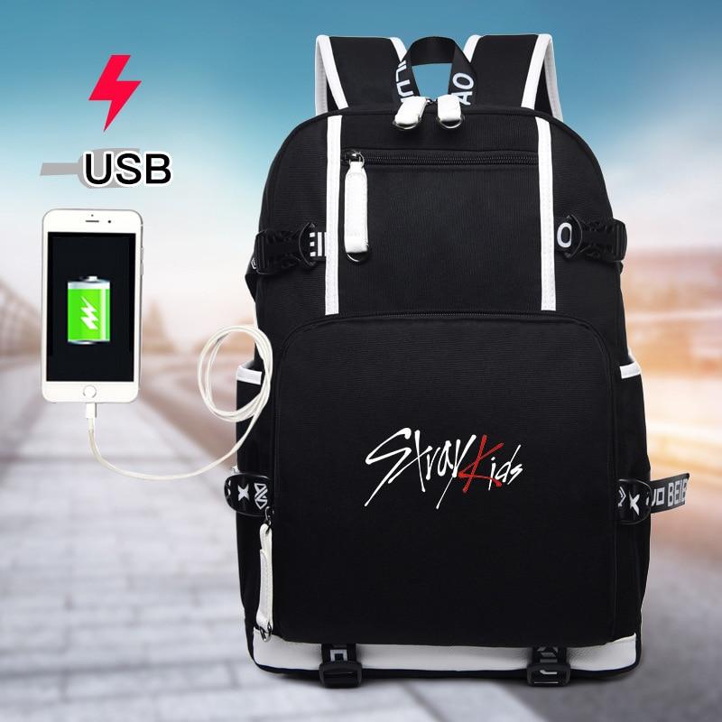 Seventeen 7 Korean Star Usb Backpack Men Women Canvas School Book Bags Laptop Backpack Mochila Feminina Boy Girls Backpacks Luggage & Bags