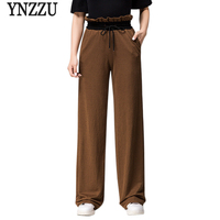 Newest Fashion Summer Vintage Women Long Pants High Waist Ruched Loose Wide Leg Pants Spring Trousers