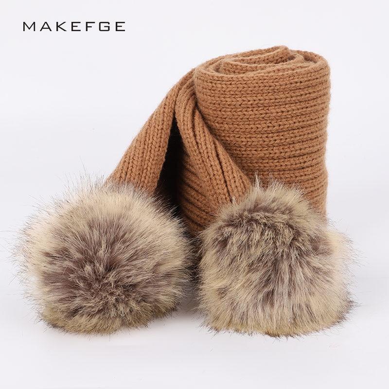 2018 New Fashion Children Pompom Knit   Scarf   Hat Sets Winter Boy Girl Cute   Scarves   Beanies Baby   Wraps   Kids Kerchief Cotton Wool