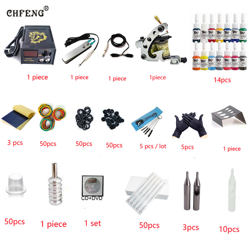 Professional 1 Set Tattoo Kit Mini Gun Rotary Machine Equipment sets +Ink +Power Supply +Needle + CD for Beginners Body Art mercedes cla w117 amg style replacement cf rear trunk wing spoiler for benz 2013 cla 180 cla200 cla 250