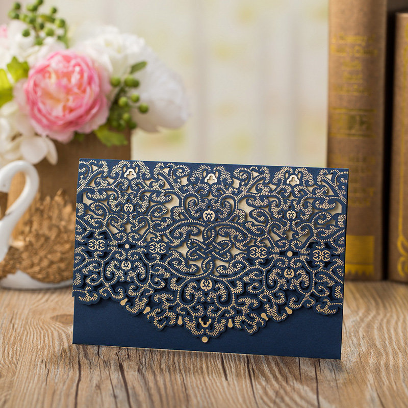 1pcs Sample High Quality Laser Cut Luxury Flora Wedding Invitations Card Elegant Lace Favor Wedding Party Supplies 185127mm