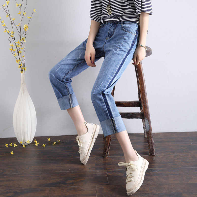 HEE GRAND/джинсы до середины икры 2019 женские весенние брюки плюс размер 32 летние свободные джинсовые женские джинсы с высокой талией брюки WKN623