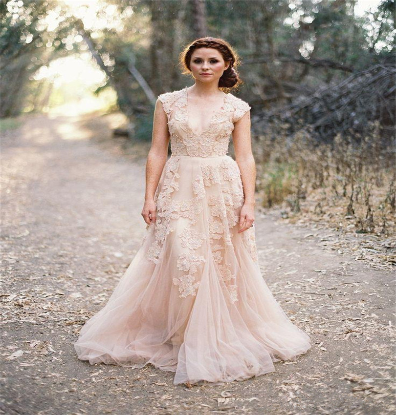 Roman Wedding Gowns: Romantic Blush Pink Wedding Dresses Plunging V Neckline