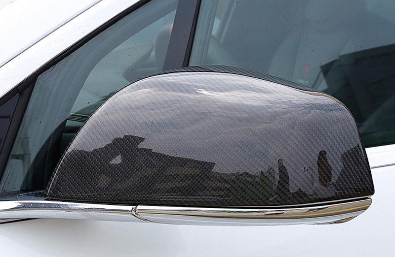 Black Rearview Side Door Mirror Cover Trim 2pcs For Tesla Model X 2016 - 2018