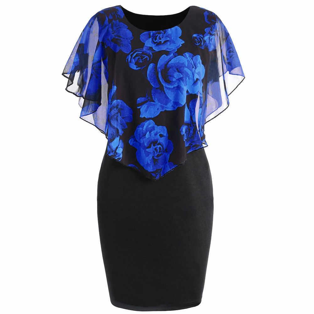 ... Fashion Womens floral dress Casual Plus Size Rose Print Chiffon O-Neck  Ruffles Mini Dress ... 909d9ccd88f8