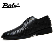 BOLE Handmade Leather Men Shoes Classic Business Men Formal Shoes New Punching Breathable Lace Up Shoes Men FlatS Big Size 37-46