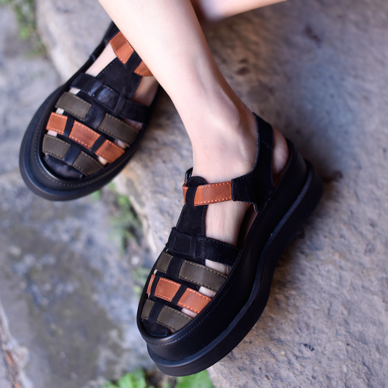Plate Nouvelle De Main Artmu Plage Évidé Véritable Black Cuir Chaussures 07725 D'origine Confortable forme Femmes La En À Sandales gqZgz8rw