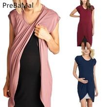 Nursing Dress For Pregnant Women Short Sleeve Patchwork Breastfeeding Summer Feeding Maternity Pregnancy Clothes C0026