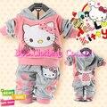 [Bosudhsou] hot outono hello kitty conjuntos de roupas crianças terno do bebê da menina do menino de veludo ternos do esporte hoody jaquetas/casaco + calças