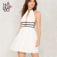 Haoduoyi Summer Western Style Fashion Slim Sexy Contrast Color Backless Off The Shoulder SML XL XXL