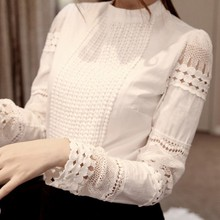 Summer Women's Slim Embroidery Long Sleeve Shirts Crochet White Cotton Blouse