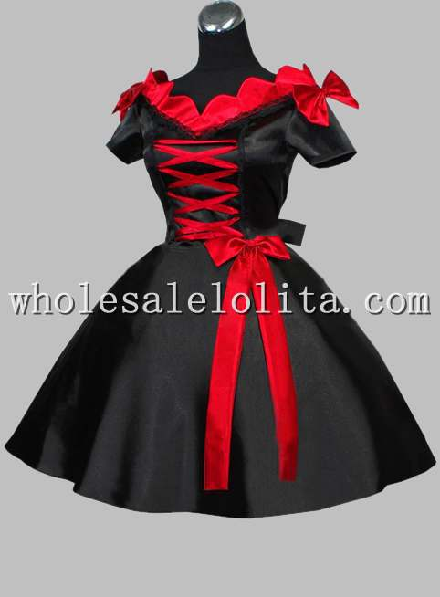 Gothic Short Black and Red Silk-like V Neck Victorian Era Dress(China)