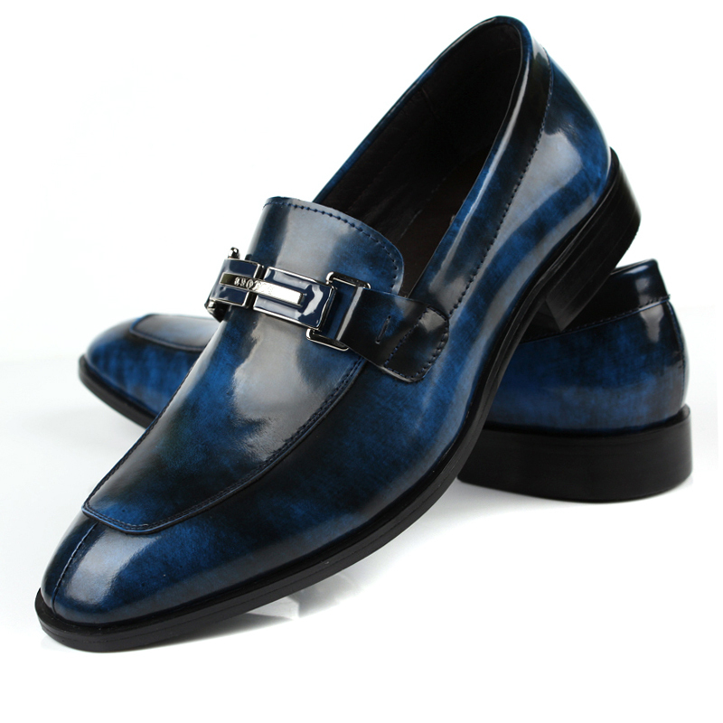Blue Leather Italian Designer Men Shoes