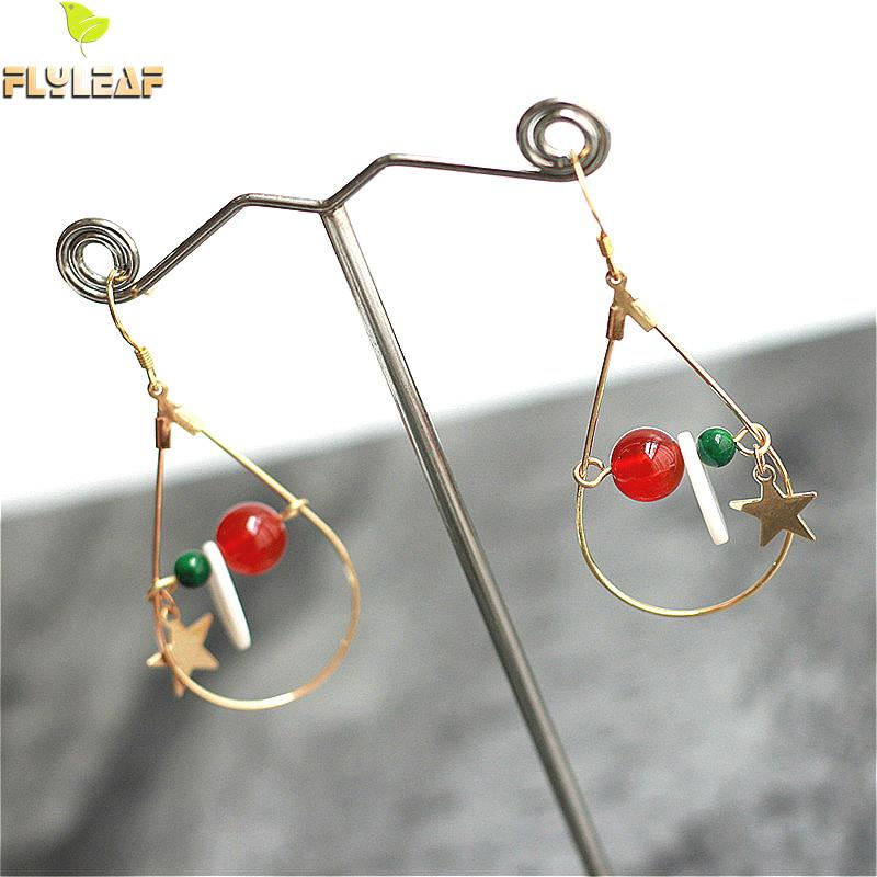 Flyleaf 925 Sterling Silver Shell Drop Statement Earrings For Women Nature Stone Star Gold Long Dangle Earings Fashion Jewelry