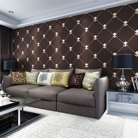Beibehang European Luxury Luxury Lingge Living Room TV Background Wallpaper 3D Stereo Soft Lacquer Deer Leather
