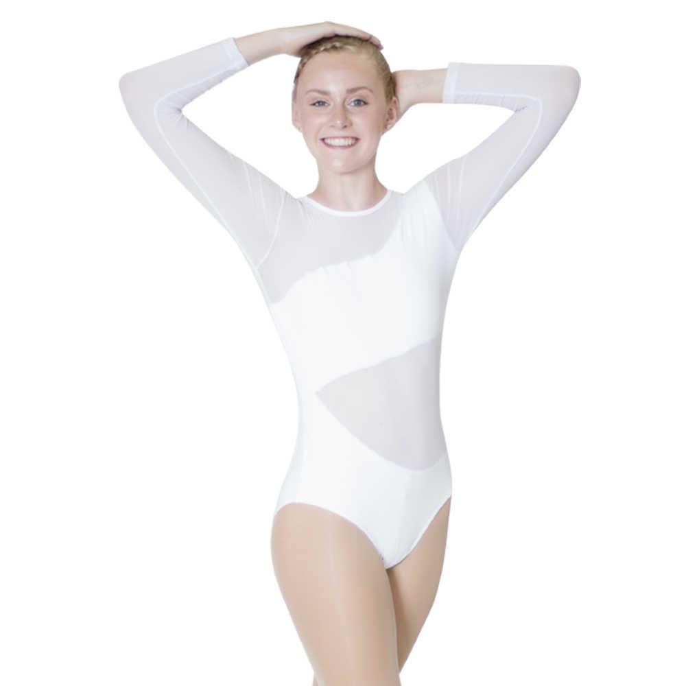 Белый хлопок/лайкра сетка с длинным рукавом балетное танцевальное трико для выступлений для дам и девушек
