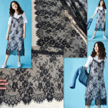 3M/Lot Classical Design Nylon Dress Eyelash Lace Trim Soft Black White Navy French Bilateral Chantilly Fabric 150CM