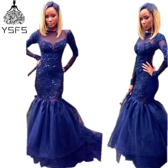 Sparkly Navy Blue Long Sleeve Prom Dresses Sheer Neck Mermaid ...