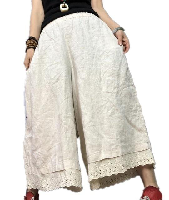 YESNO PT2 Для женщин Повседневное свободные укороченные штаны 100% льняные юбки брюки широкие кружева подол низкий шаговый шов карман