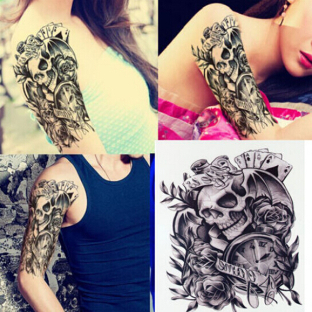 c451523f8f1c0 1PC Makeup Old Clock Temporary Tattoo Stickers Death Skull Punk Rose Tattoo  For Men / Body Arm Sleeve Adhesive Fake Henna Tattoo