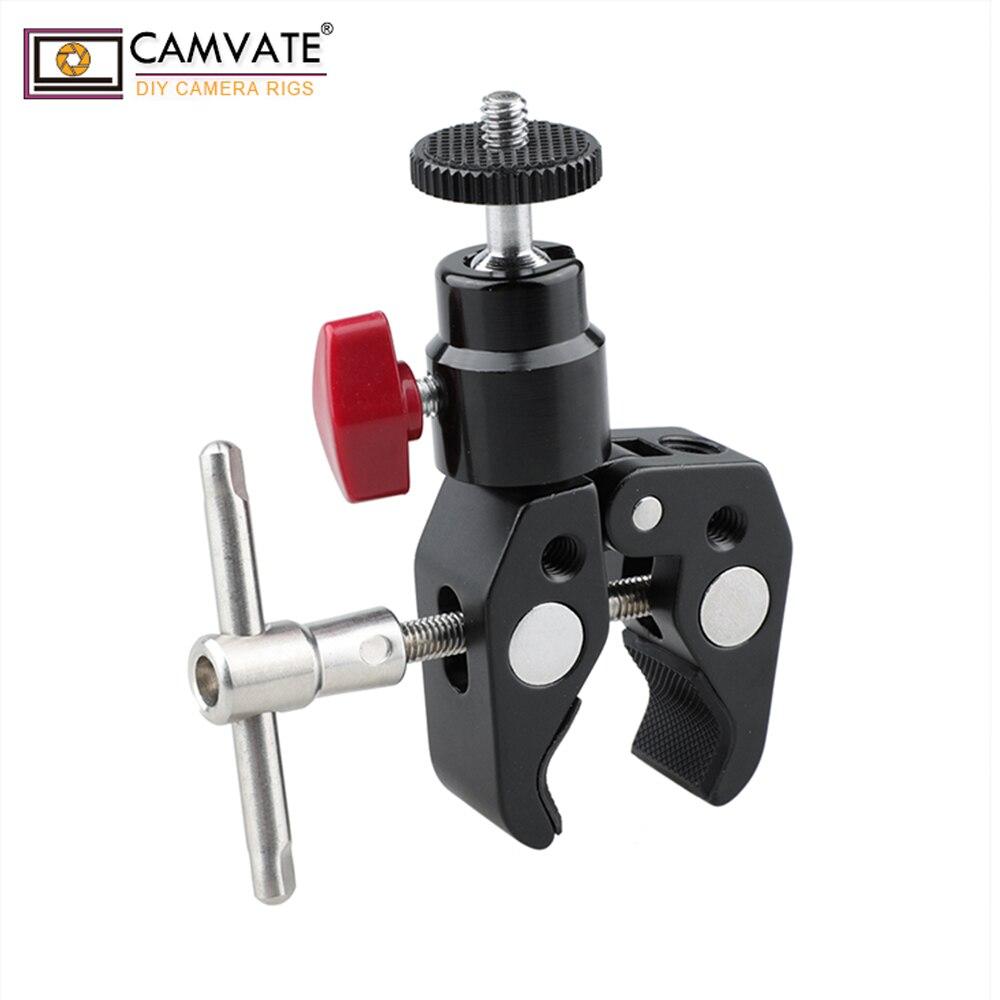 CAMVATE Universel Caméra Trépied Support Montage Rod Clamp 15mm Rotule 360 Rotation 1/4 -20 Vis Fil c1414