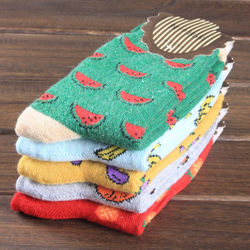 Women's Cute Fruit Banana Casual Sock Spring Summer Cozy Cotton Short Socks Hosiery For Gril J2