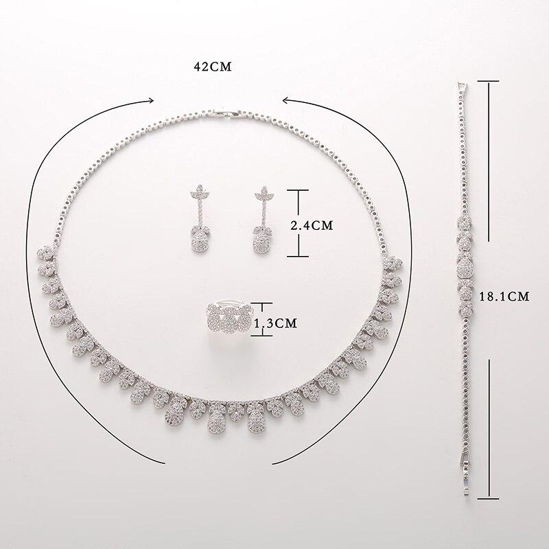 Image 3 - Женский набор из циркония Hadiyana, роскошный набор из циркония AAA для свадьбы, 2018Ювелирные наборы