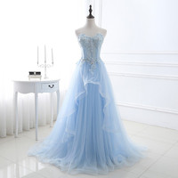Luxury Light Blue Long Party Dresses Sleeveless Sweetheart Tulle Appliques Beading Lace Up Back Women Bandage Prom Gowns 0310A