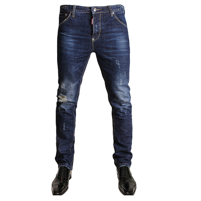 Italian Style Fashion Full Length Solid Skinny Jeans Men