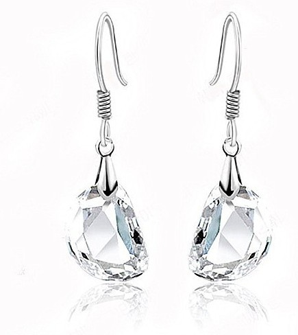 famous brand high quality cute irregular shape Austria Princess Natural white crystal sterling silver earrings girlfriend gift