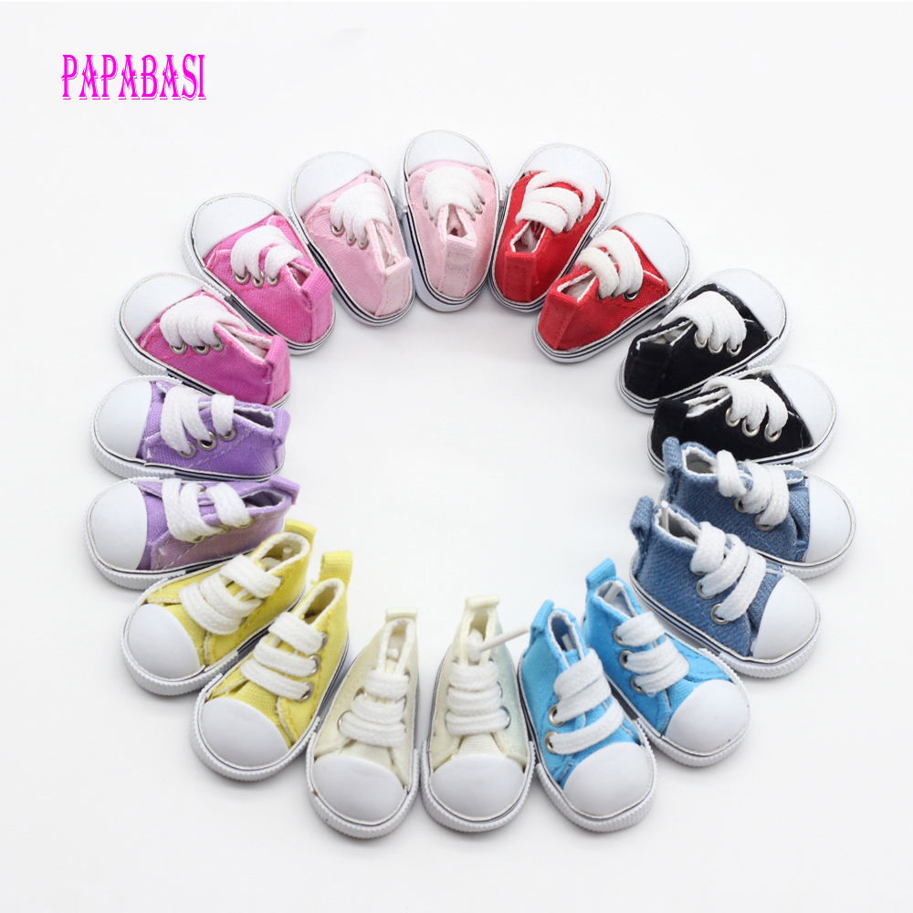 5pair Mix Assorted 5cm Canvas Shoes For BJD Doll Fashion Mini Toy Shoes Sneaker Bjd Doll Shoes for Russian Doll Accessories